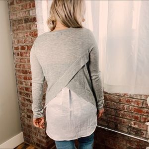 Fate Grey grey light sweater sheer white open back